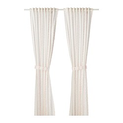 LATTJO - Curtains with tie-backs, 1 pair, dotted/white pink