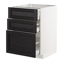 METOD - Kabinet dasar dgn 3 laci, putih Maximera/Lerhyttan diwarnai hitam