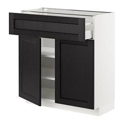 METOD/MAXIMERA - Kabinet dasar dengan laci/2 pintu, putih/Lerhyttan diwarnai hitam