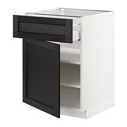 METOD/MAXIMERA - Kabinet dasar dengan laci/pintu, putih/Lerhyttan diwarnai hitam