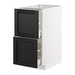 METOD/MAXIMERA - Kab dsr 2 bag dpn/2laci tinggi, putih/Lerhyttan diwarnai hitam