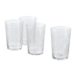 MUSTIGHET - Glass, patterned/white