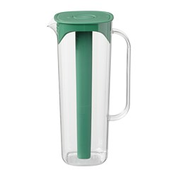 MOPPA - Jug with lid, green/transparent