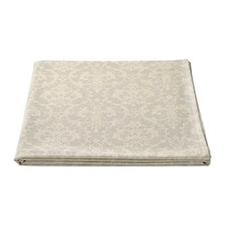 MUSTIGHET - Tablecloth, patterned/beige/white