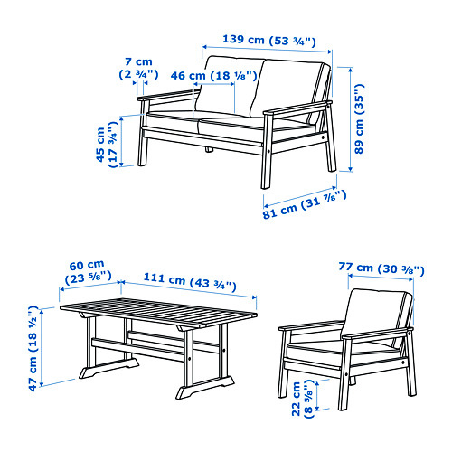 BONDHOLMEN kursi santai luar ruang, set isi 4