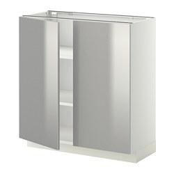 METOD - Kabinet dasar dg rak/2 pintu, putih/Grevsta baja tahan karat