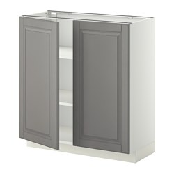 METOD - Kabinet dasar dg rak/2 pintu, putih/Bodbyn abu-abu