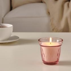 VÄLDOFT - Scented candle in glass, wild strawberry/dark pink