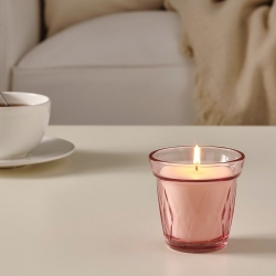 VÄLDOFT - Lilin beraroma dalam gelas, stroberi liar /merah muda tua