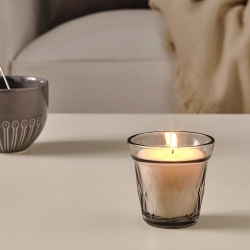 VÄLDOFT - Scented candle in glass, Salty sweets/grey