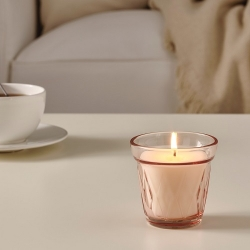 VÄLDOFT - Scented candle in glass, Lingonberry/pink