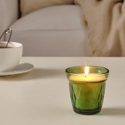 VÄLDOFT - Scented candle in glass, Thyme/dark green