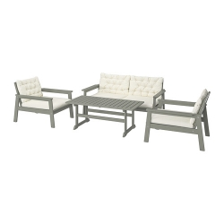 BONDHOLMEN - 4-seat conversation set, outdoor, grey stained/Kuddarna beige