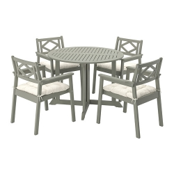 BONDHOLMEN - Table+4 chairs w armrests, outdoor, grey stained/Kuddarna beige