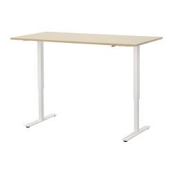 SKARSTA - Meja duduk/berdiri, krem/putih