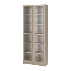 BILLY - Bookcase with glass-doors, grey/metallic effect