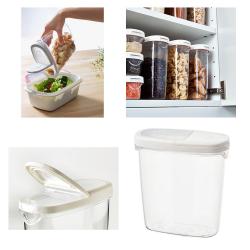 IKEA 365+ - Stoples makanan kering dg penutup, transparan/putih