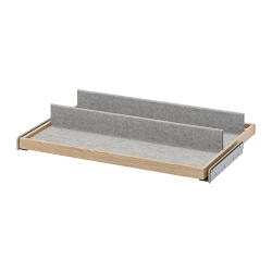KOMPLEMENT - Pull-out tray with shoe insert, white stained oak effect/light grey