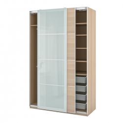 PAX/MEHAMN/SEKKEN - Kombinasi lemari pakaian, efek kayu oak diwarnai putih/kaca frosted