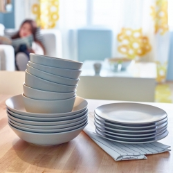 DINERA - 18-piece service, grey-blue
