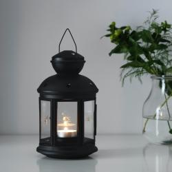 ROTERA - Lentera untuk lilin kecil, dalam/luar ruang hitam