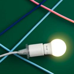 RYET - Bohlam LED E27 400 lumen, bulat putih opal