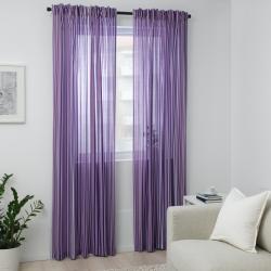 PRAKTKLOCKA - Curtains, 1 pair, lilac/striped