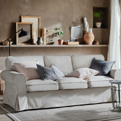EKTORP - Sofa 3 dudukan, Lofallet krem