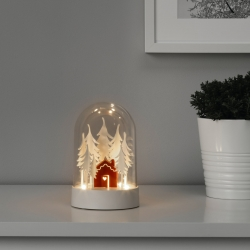 STRÅLA - LED table decoration, cabin in the forest red/white