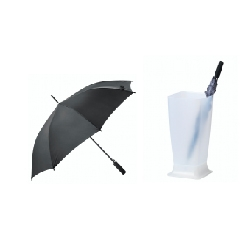 Bundling musim hujan C - 1pc stand payung SKRAJ, 1pc payung KNALLA hitam