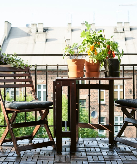 Pot plants on a dark wood table with matching wooden chairs against balcony railings.
