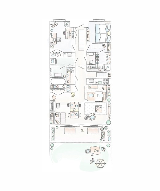 A floorplan of Mieko's home.