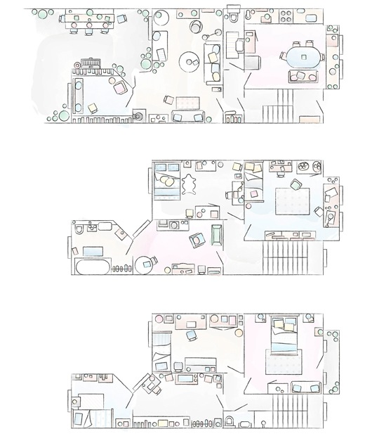 A floorplan of Edna and Erik's home.