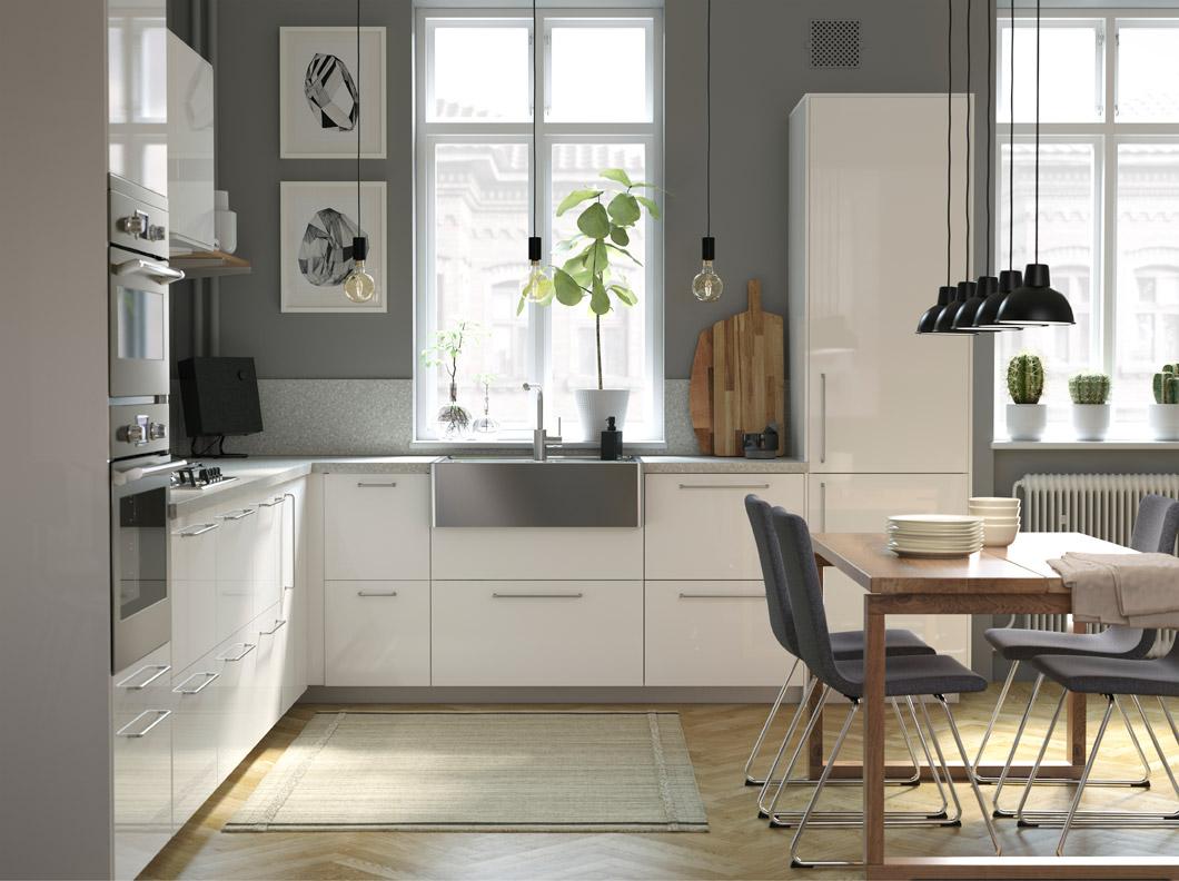 IKEA kitchen series includes modern design touches, including BREDSJÖN sleek stainless steel sink bowl and optional TÄMNAREN motion sensor kitchen sink tap that can conserve water.