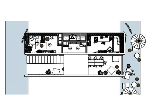 A floorplan of the two container homes.