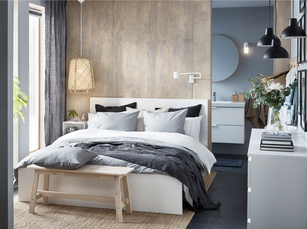 IKEA MALM high white bed frame has a clean design that's beautiful on all sides – place the bed freestanding or with the headboard against a wall.