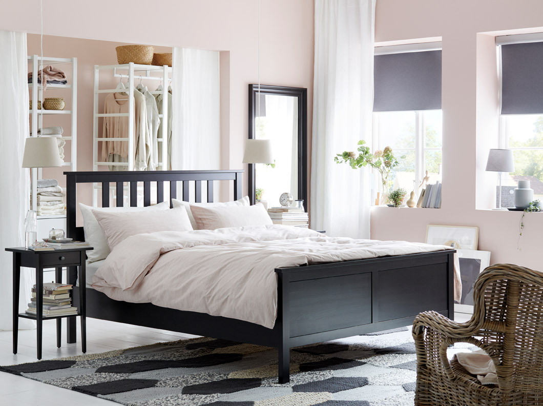 IKEA HEMNES black brown bed frame is constructed of solid wood with straight slats on the headboard. It is finished on all sides, so you can boldly place your bed in the middle of your bedroom.