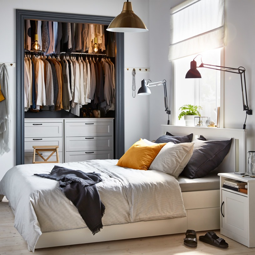IKEA SONGESAND white bed frame with 4 storage boxes is the perfect 2-in-1 solution for a small bedroom.
