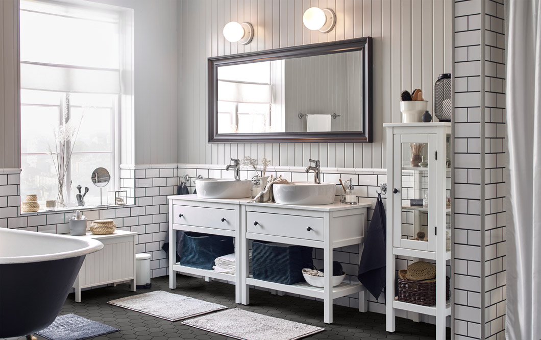 Achieve a beautiful and classic bathroom with a relaxing feel with the help of pretty storage solutions, airy spaces, and clean and crisp colours.