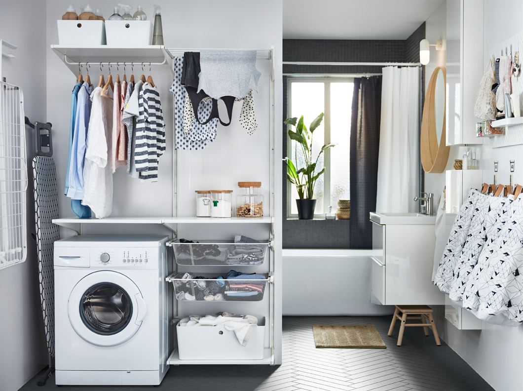 IKEA ALGOT series includes deep mesh shelves, hanging rails for drying laundry, and KUGGIS plastic boxes that can help solve your laundry solution.