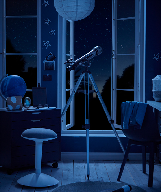 Moonlit room with telescope and high windows opening to a starry-sky background, and poised home telescope at centre.