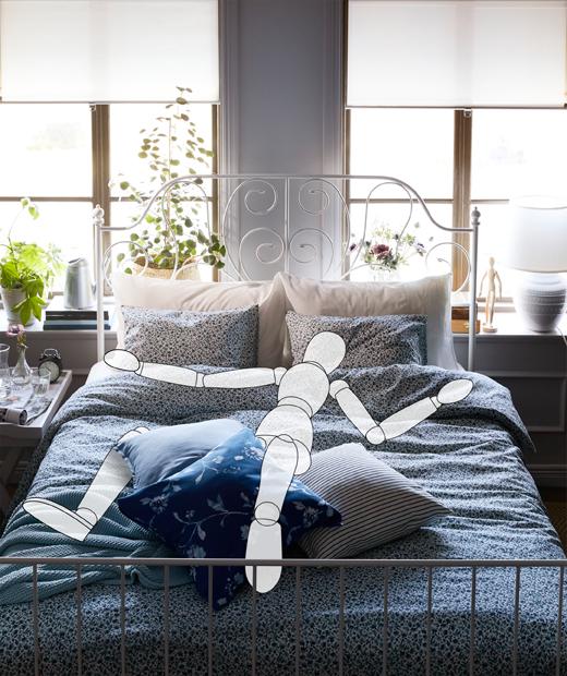 Interior kamar tidur dengan ilustrasi seseorang berbaring dengan posisi lurus dan simetris, seperti interior kamar yang rapi.