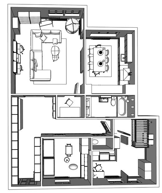 Denah model apartemen dua kamar tidur.