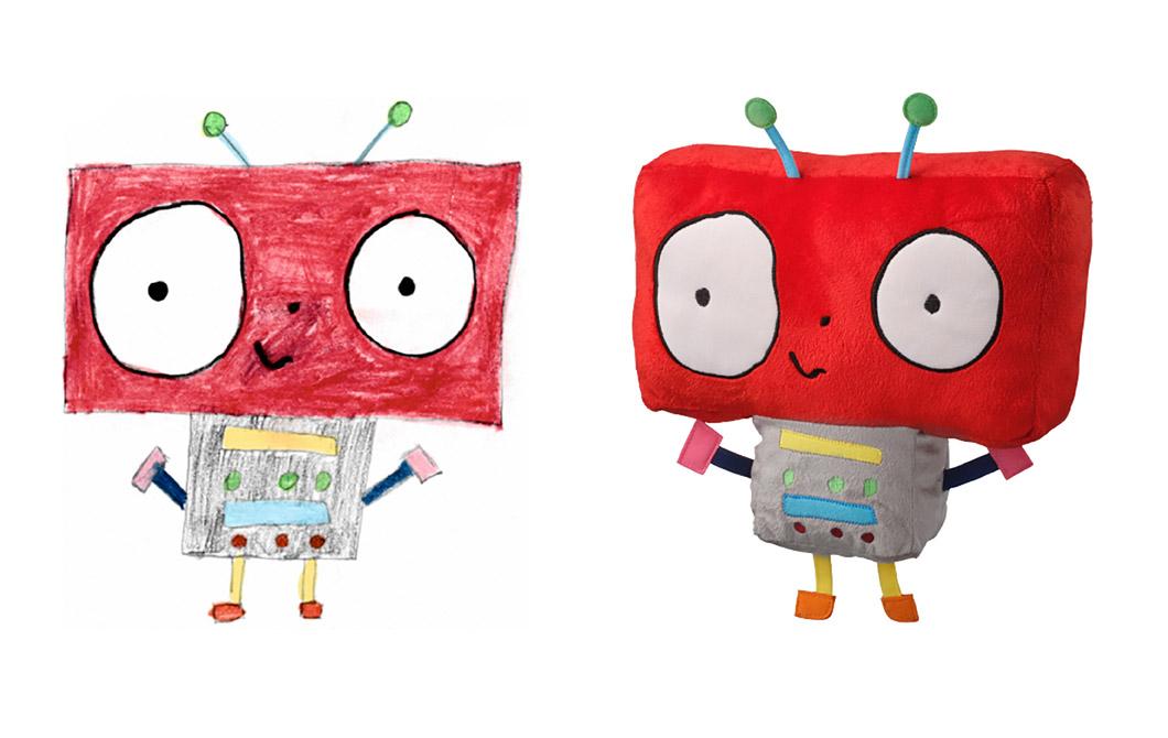 Sebuah gambar robot imajinasi bersebelahan dengan gambar yang robot yang sama berubah menjadi boneka.