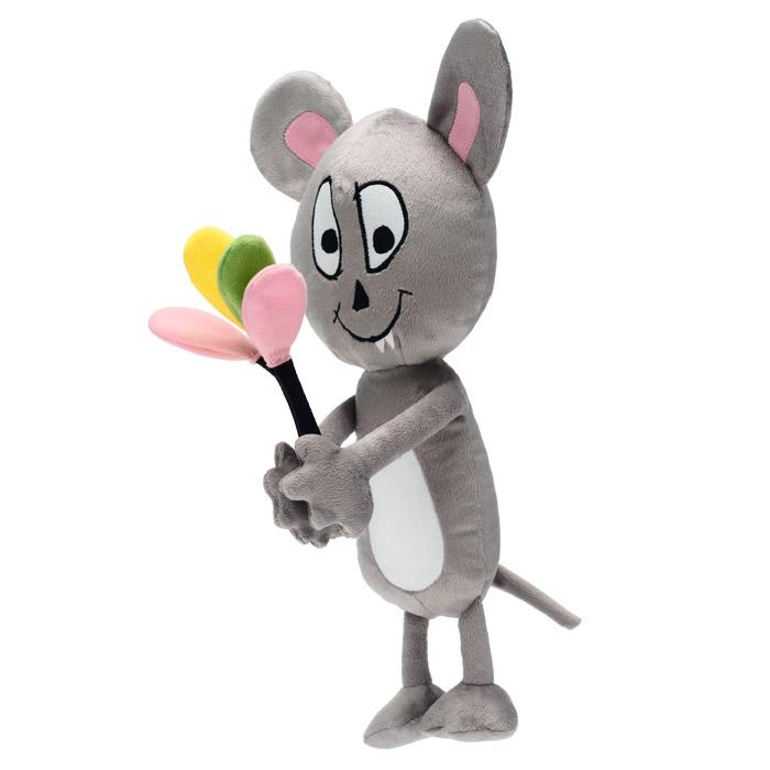 Boneka tikus berwarna abu-abu sedang memegang balon.