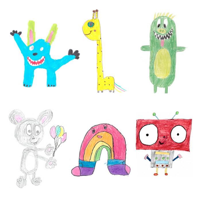 Enam gambar makhluk imajinasi anak-anak yang penuh warna.
