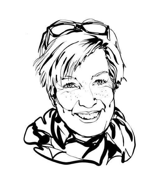 Sketsa hitam-putih, berfokus pada wajah desainer interior IKEA Mia Gustafsson: tersenyum, rambut pendek, kacamata dinaikkan ke atas kepala, syal.