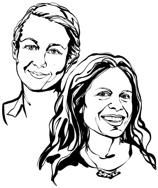 Black-and-white, face-focused sketch of the two interior designers featured in the text, Jenny Wik and Emilia Ljungberg.