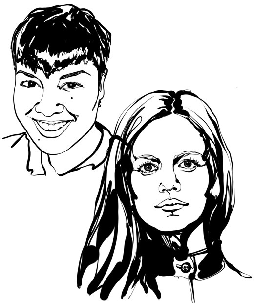 Sketsa hitam-putih, berfokus pada wajah dari dua desainer interior, Kristin Perez dan Kristina Pospelova.