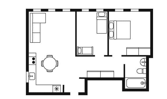 Ilustrasi skematis, seperti cetak biru dari denah serta barang di apartemen ini.